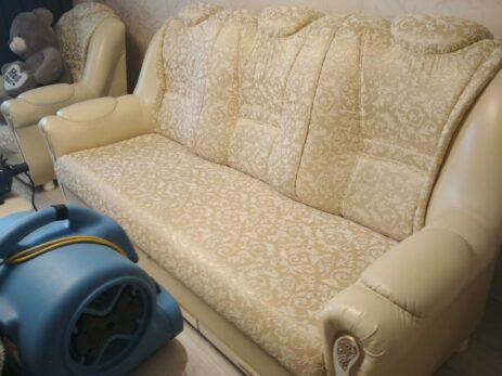 Хичистка дивана с деликатной обивкой